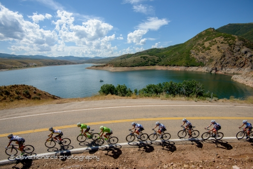 Riders & shadows along the shores of East Canyon Reservoir. Stage 6, 2016 Tour of Utah. Photo by Dave Richards, daverphoto.com