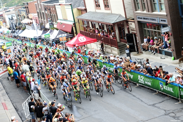 The peloton rolls out on Main Street in Park City at the start of Stage 7 of the 2016 Tour of Utah. Photo by Catherine Fegan-Kim, cottonsoxphotography.com
