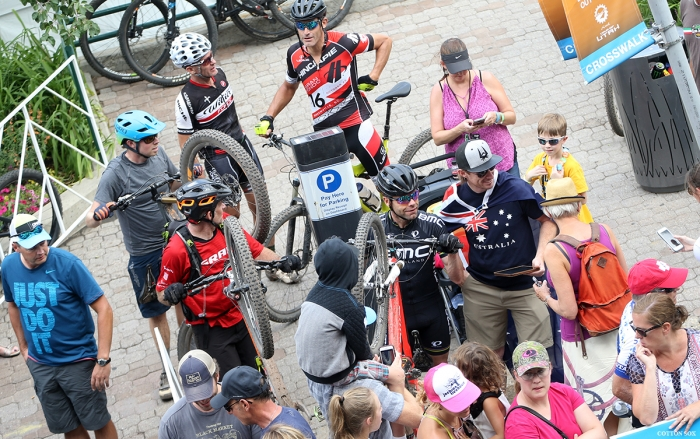 Cadel Evans has his mountain bike in hand while Stage 7 of the 2016 Tour of Utah is going on. Photo by Catherine Fegan-Kim, cottonsoxphotography.com