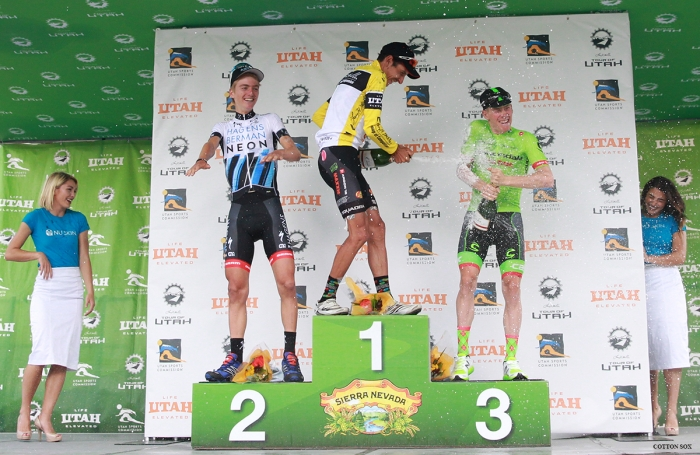 The top three celebrate with champagne after Stage 7 of the 2016 Tour of Utah. Photo by Catherine Fegan-Kim, cottonsoxphotography.com
