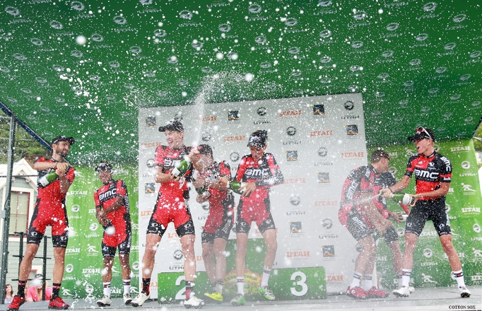Champagne! BMC won the team honors. Stage 7 of the 2016 Tour of Utah. Photo by Catherine Fegan-Kim, cottonsoxphotography.com