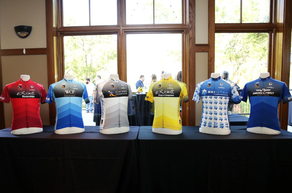 The Tour of Utah leaders jerseys. Photo: Catherine Fegan-Kim