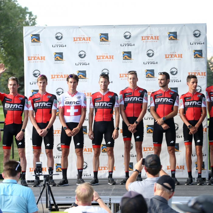 BMC comes from Switzerland for the Tour of Utah. The rider in white is Swiss road race champion Silvan Dillier. Photo: Catherine Fegan-Kim