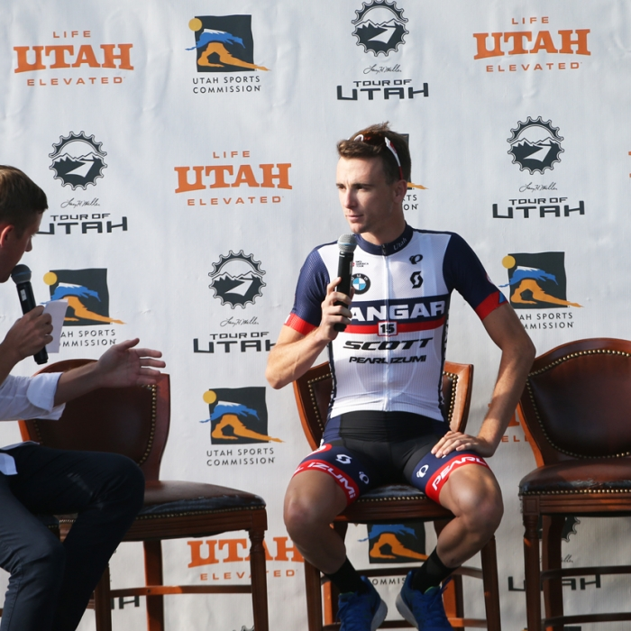 Rob Squire being interviewed. Squire is one of Utah's top racers and is from Sandy. Photo: Catherine Fegan-Kim