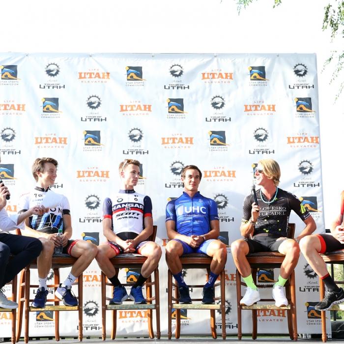 Brad Sohner interviews the racers. Photo: Catherine Fegan-Kim