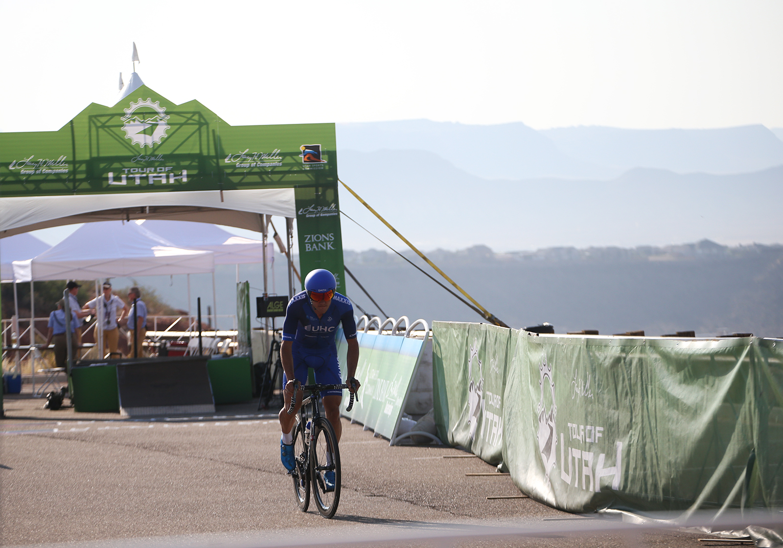 A UHC rider.  2018 Tour of Utah Team Prologue, August 6, 2018, St. George, Utah. Photo by Cathy Fegan-Kim, cottonsoxphotography.net