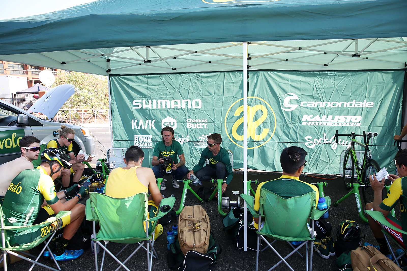 Aevolo team meeting. 2018 Tour of Utah Team Prologue, August 6, 2018, St. George, Utah. Photo by Cathy Fegan-Kim, cottonsoxphotography.net