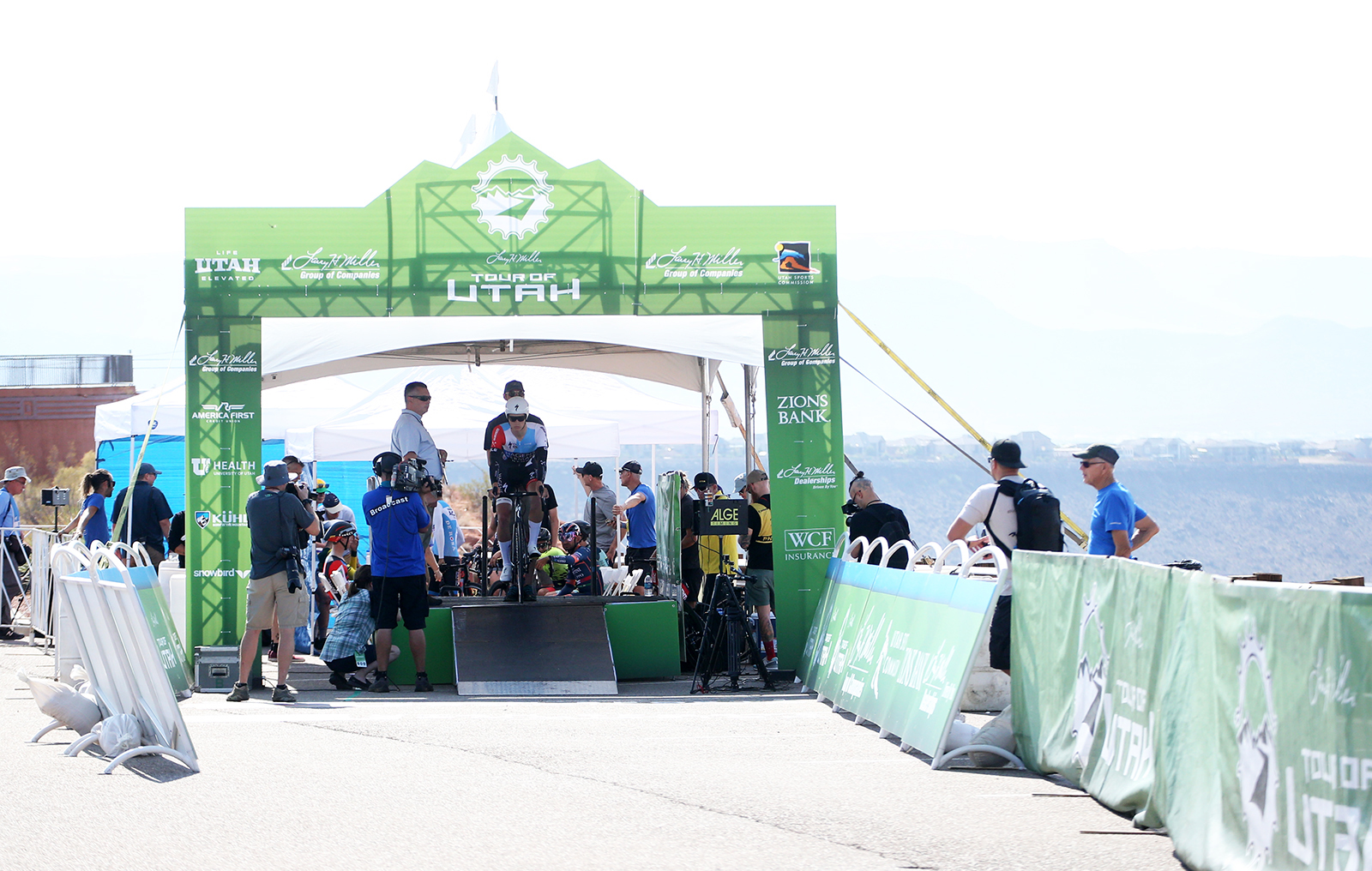 Start house. 2018 Tour of Utah Team Prologue, August 6, 2018, St. George, Utah. Photo by Cathy Fegan-Kim, cottonsoxphotography.net
