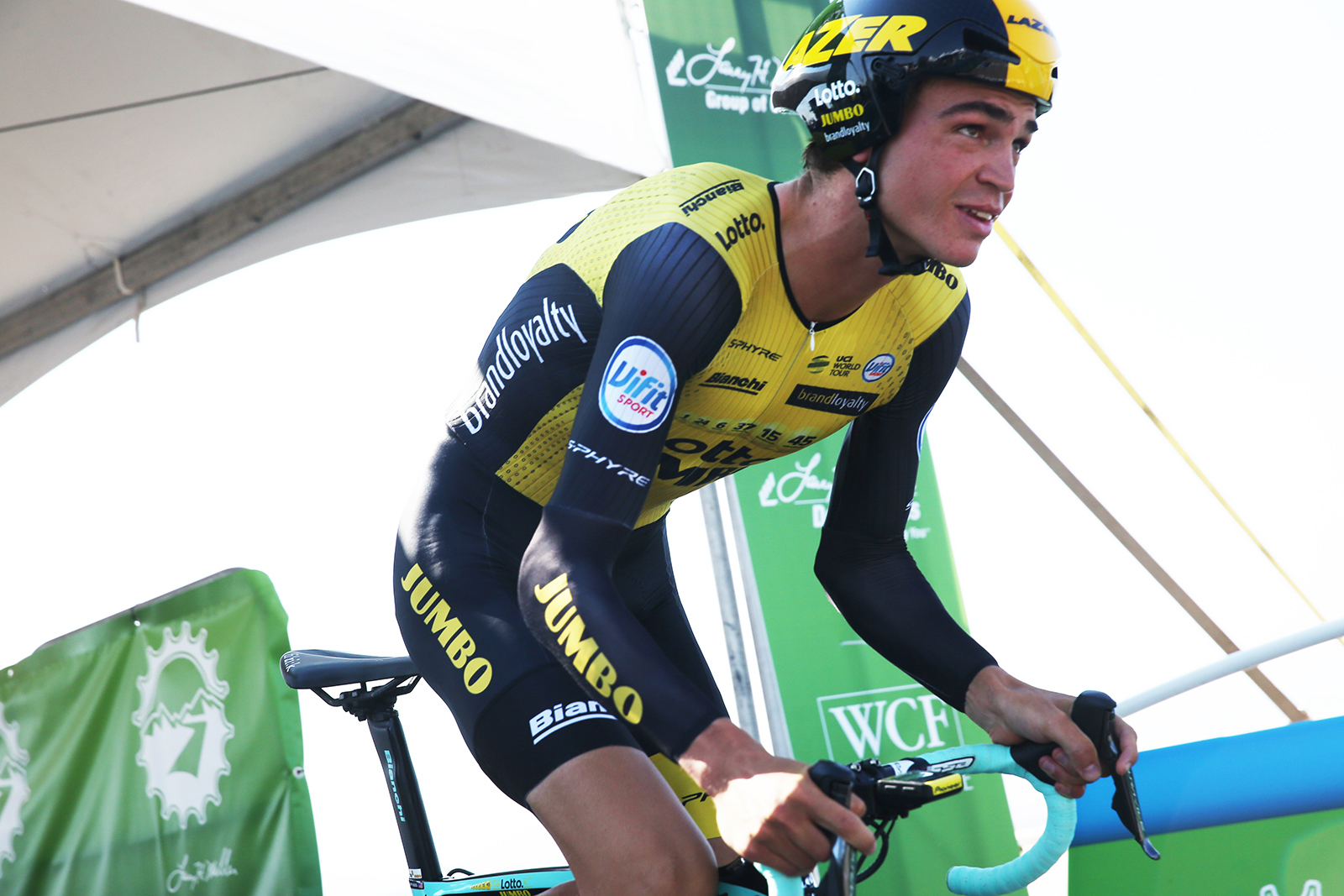 Sepp Kuss of Team Lotto NL-Jumbo at the start. 2018 Tour of Utah Team Prologue, August 6, 2018, St. George, Utah. Photo by Cathy Fegan-Kim, cottonsoxphotography.net
