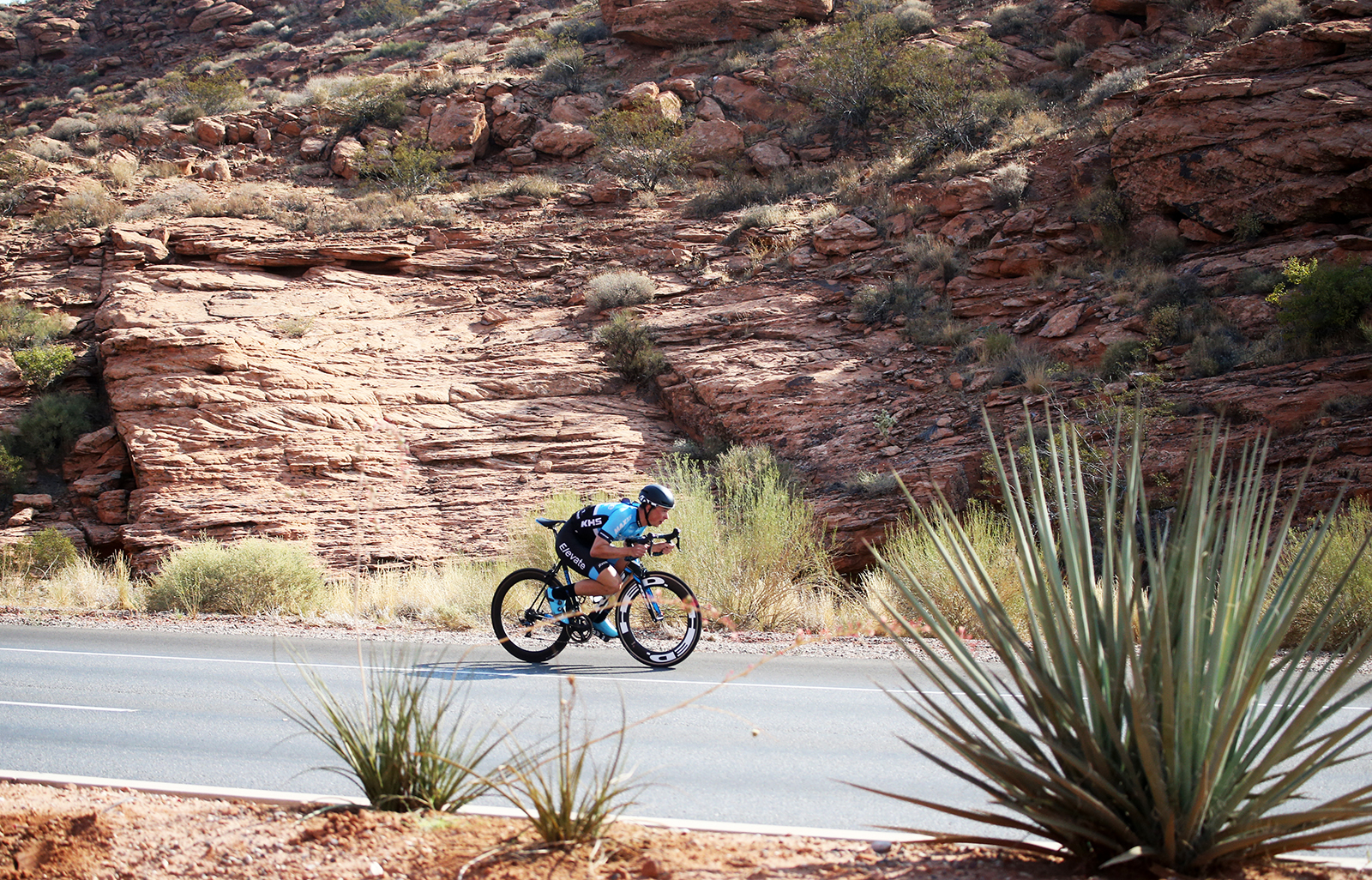 Many riders opted for the super tuck on the descents. 2018 Tour of Utah Team Prologue, August 6, 2018, St. George, Utah. Photo by Cathy Fegan-Kim, cottonsoxphotography.net