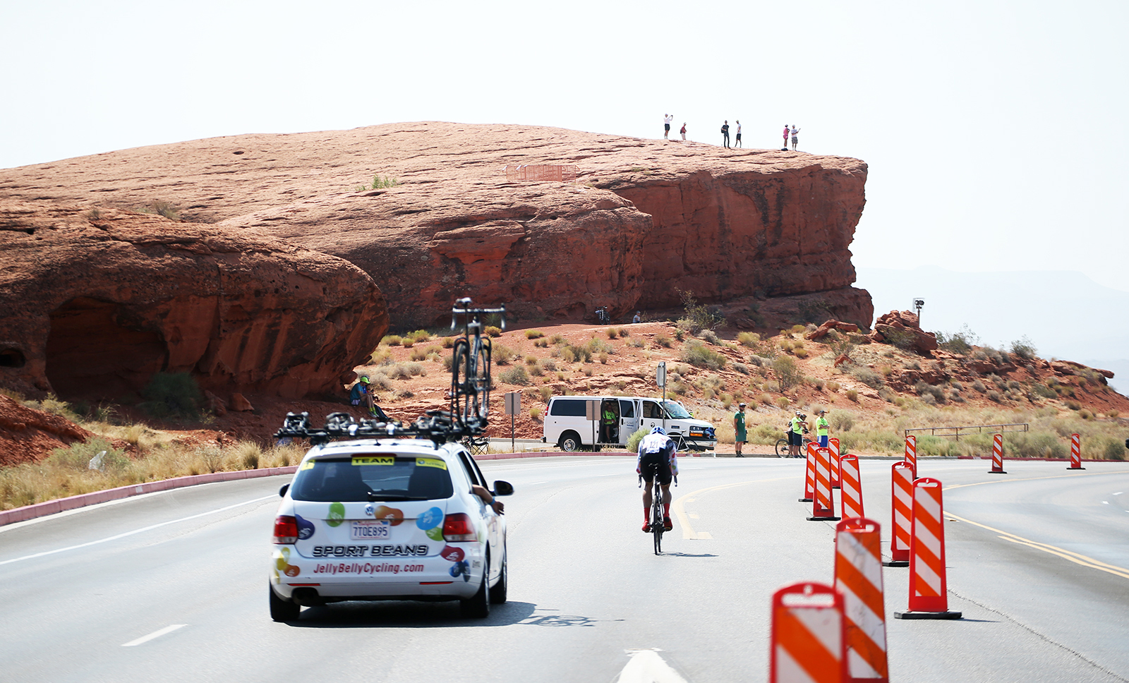 Some fans climbed up to higher grounds to spectate the Prologue. 2018 Tour of Utah Team Prologue, August 6, 2018, St. George, Utah. Photo by Cathy Fegan-Kim, cottonsoxphotography.net
