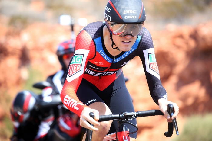 Tejay Van Garderen (BMC) wins the Prologue in St. George, Utah. 2018 Tour of Utah Team Prologue, August 6, 2018, St. George, Utah. Photo by Cathy Fegan-Kim, cottonsoxphotography.net
