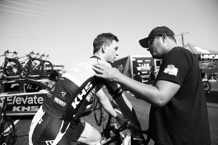 Pep talk. 2018 Tour of Utah Team Prologue, August 6, 2018, St. George, Utah. Photo by Cathy Fegan-Kim, cottonsoxphotography.net