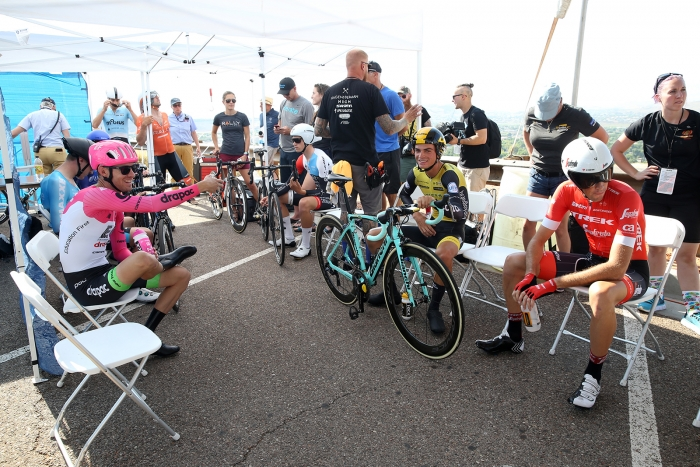Start house banter. 2018 Tour of Utah Team Prologue, August 6, 2018, St. George, Utah. Photo by Cathy Fegan-Kim, cottonsoxphotography.net