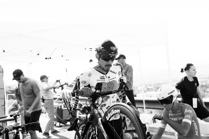 Jelly Belly rider steps up to the start ramp. 2018 Tour of Utah Team Prologue, August 6, 2018, St. George, Utah. Photo by Cathy Fegan-Kim, cottonsoxphotography.net