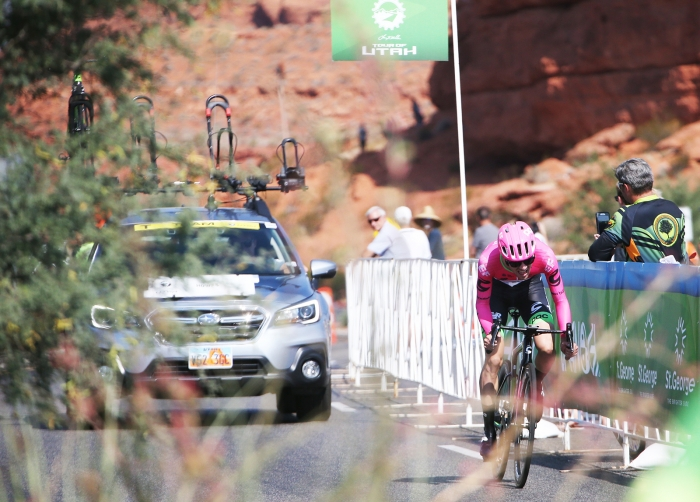 Alex Howes digs deep in the last few kilometers. 2018 Tour of Utah Team Prologue, August 6, 2018, St. George, Utah. Photo by Cathy Fegan-Kim, cottonsoxphotography.net