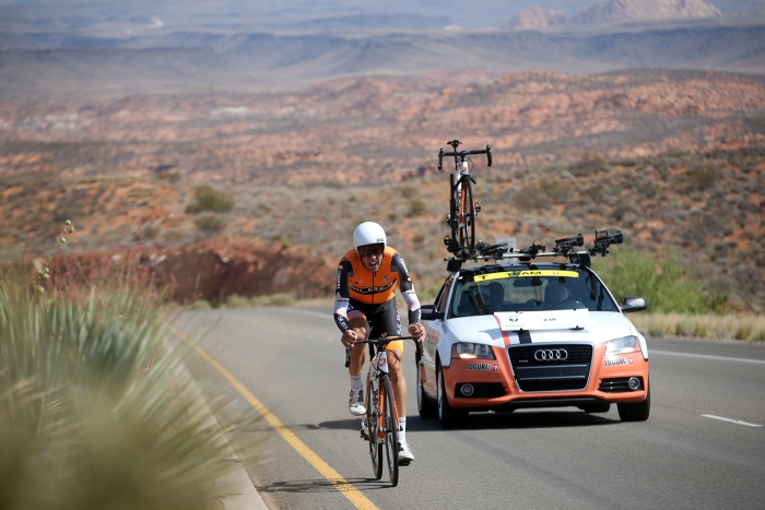 Silber Pro Cycling races the Prologue set in the redrocks of St. George. 2018 Tour of Utah Team Prologue, August 6, 2018, St. George, Utah. Photo by Cathy Fegan-Kim, cottonsoxphotography.net