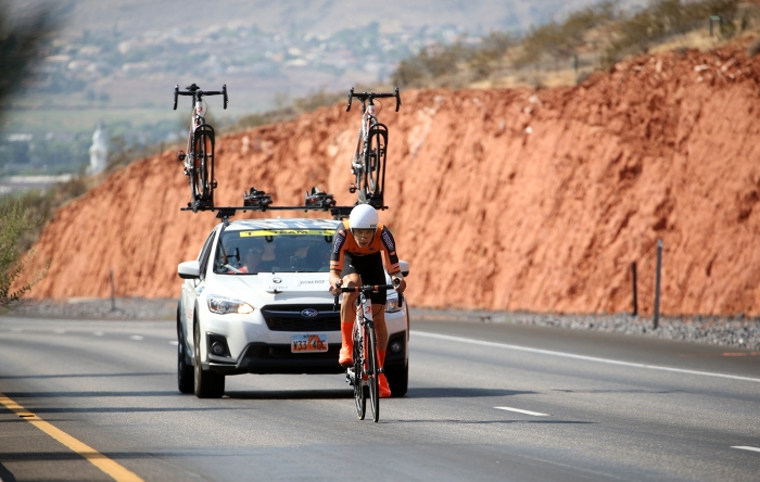 The first climb. 2018 Tour of Utah Team Prologue, August 6, 2018, St. George, Utah. Photo by Cathy Fegan-Kim, cottonsoxphotography.net