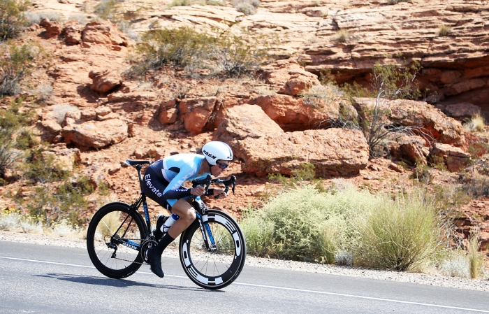Red rock. 2018 Tour of Utah Team Prologue, August 6, 2018, St. George, Utah. Photo by Cathy Fegan-Kim, cottonsoxphotography.net