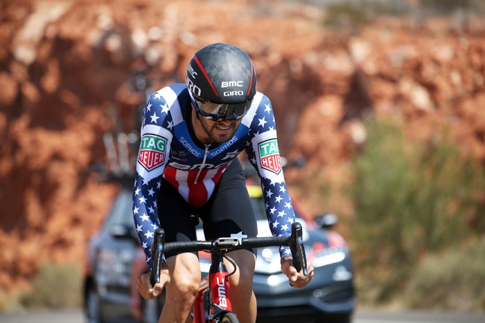 2017 and 2018 Pro ITT National Champion, Joey Rosskopf of BMC charges into 2nd place. 2018 Tour of Utah Team Prologue, August 6, 2018, St. George, Utah. Photo by Cathy Fegan-Kim, cottonsoxphotography.net