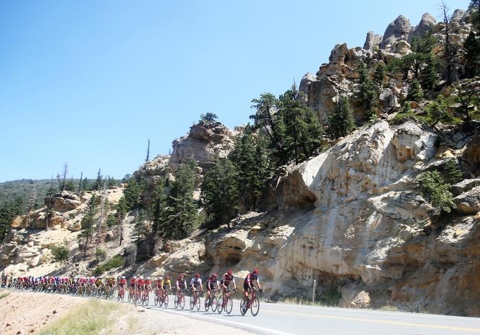 The peloton. 2018 Tour of Utah Stage 1, August 7, 2018, Cedar City, Utah. Photo by Cathy Fegan-Kim, cottonsoxphotography.net