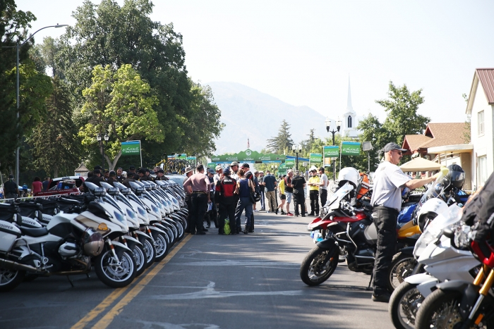 Another start of the day for the Tour of Utah. 2018 Tour of Utah Stage 2, August 8, 2018, Payson, Utah. Photo by Cathy Fegan-Kim, cottonsoxphotography.net