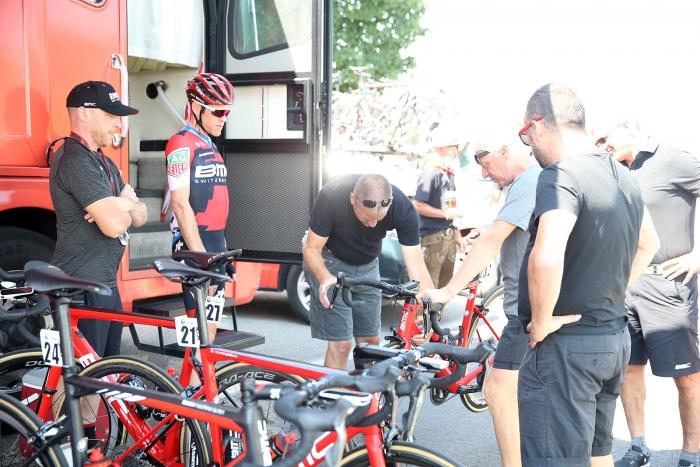 BMC mechanics checks Bookwalter's bike. 2018 Tour of Utah Stage 2, August 8, 2018, Payson, Utah. Photo by Cathy Fegan-Kim, cottonsoxphotography.net