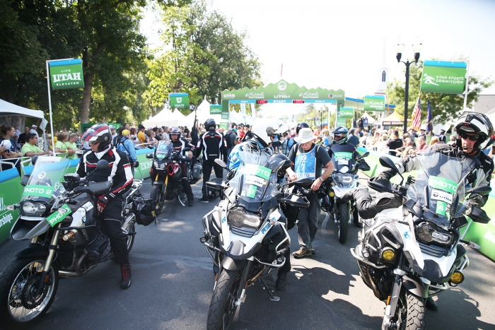 Photomotos ready for their photographers to hop on after shooting the Start Line. 2018 Tour of Utah Stage 2, August 8, 2018, Payson, Utah. Photo by Cathy Fegan-Kim, cottonsoxphotography.net