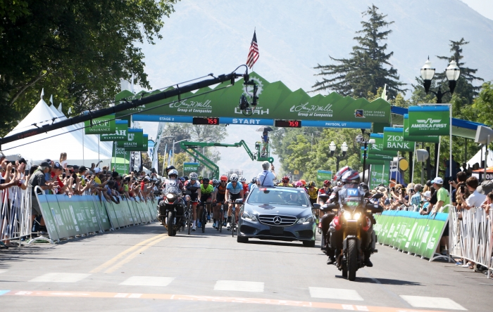 Parade lap through the Start/Finish. 2018 Tour of Utah Stage 2, August 8, 2018, Payson, Utah. Photo by Cathy Fegan-Kim, cottonsoxphotography.net