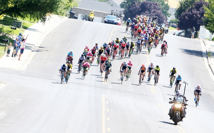 Early on in Stage 2. 2018 Tour of Utah Stage 2, August 8, 2018, Payson, Utah. Photo by Cathy Fegan-Kim, cottonsoxphotography.net
