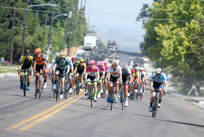 Elevate racer looks back to see if there's going to be another attack. 2018 Tour of Utah Stage 2, August 8, 2018, Payson, Utah. Photo by Cathy Fegan-Kim, cottonsoxphotography.net