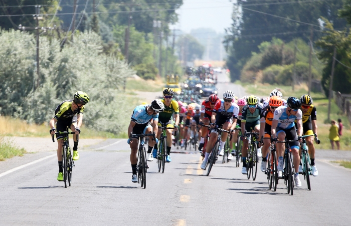 Constant attacks yet it took some time for a break to form. 2018 Tour of Utah Stage 2, August 8, 2018, Payson, Utah. Photo by Cathy Fegan-Kim, cottonsoxphotography.net