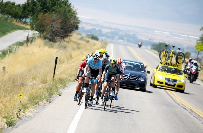 The break. 2018 Tour of Utah Stage 2, August 8, 2018, Payson, Utah. Photo by Cathy Fegan-Kim, cottonsoxphotography.net
