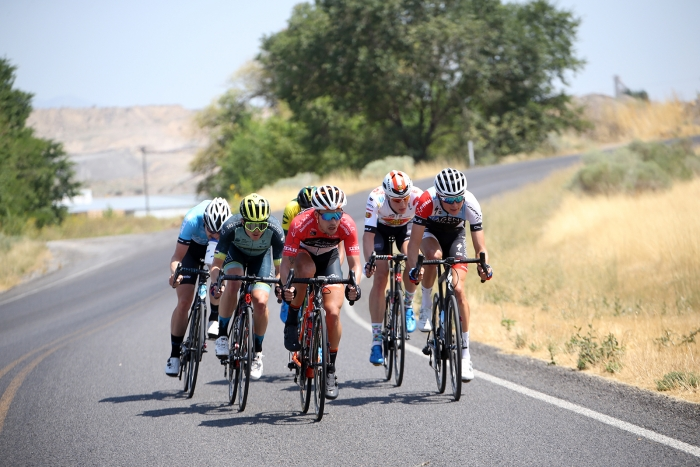 Most Aggressive Jersey makes the break. 2018 Tour of Utah Stage 2, August 8, 2018, Payson, Utah. Photo by Cathy Fegan-Kim, cottonsoxphotography.net