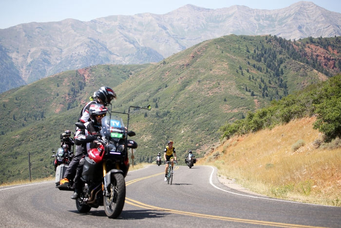 Stage 3 winner, Sepp Kuss solos up Mt. Nebo. 2018 Tour of Utah Stage 2, August 8, 2018, Payson, Utah. Photo by Cathy Fegan-Kim, cottonsoxphotography.net