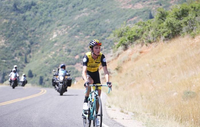 Sepp Kuss (LottoNL-Jumbo) rides towards the KOM. 2018 Tour of Utah Stage 2, August 8, 2018, Payson, Utah. Photo by Cathy Fegan-Kim, cottonsoxphotography.net