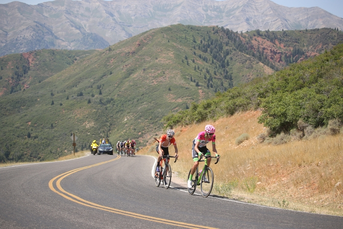 Dombrowski (Team EF Education First-Drapac p/b Cannondale) and Murphy (Rally) chase Kuss. 2018 Tour of Utah Stage 2, August 8, 2018, Payson, Utah. Photo by Cathy Fegan-Kim, cottonsoxphotography.net