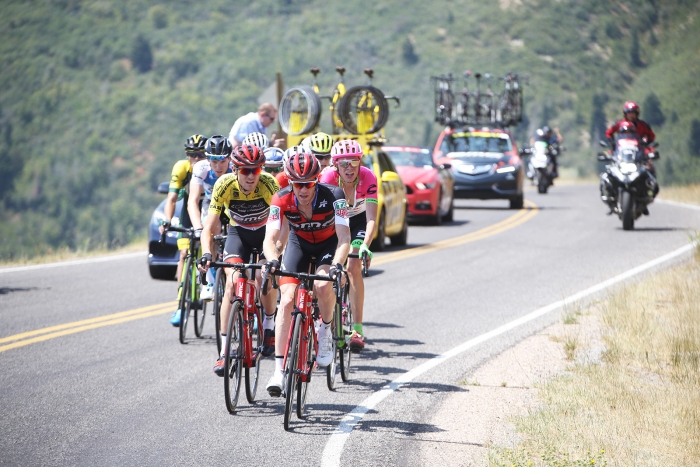 Bookwalter digs deep to protect Van Garderen's Yellow Jersey. 2018 Tour of Utah Stage 2, August 8, 2018, Payson, Utah. Photo by Cathy Fegan-Kim, cottonsoxphotography.net