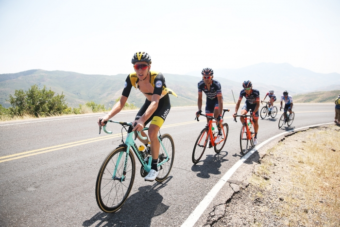 Riders climb Nebo. 2018 Tour of Utah Stage 2, August 8, 2018, Payson, Utah. Photo by Cathy Fegan-Kim, cottonsoxphotography.net