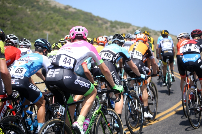 Racers rides up one of many switchbacks. 2018 Tour of Utah Stage 2, August 8, 2018, Payson, Utah. Photo by Cathy Fegan-Kim, cottonsoxphotography.net