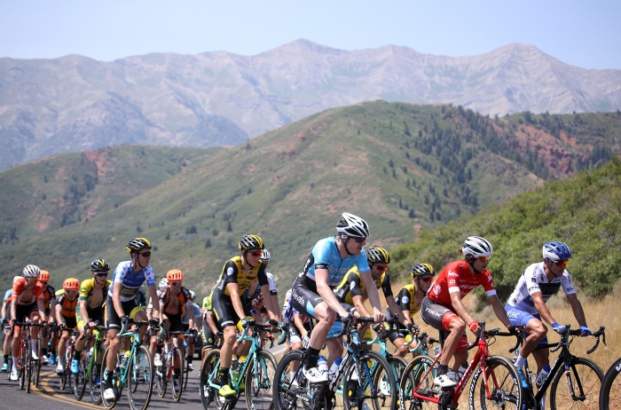 The air was thin up Nebo and quite smokey. 2018 Tour of Utah Stage 2, August 8, 2018, Payson, Utah. Photo by Cathy Fegan-Kim, cottonsoxphotography.net