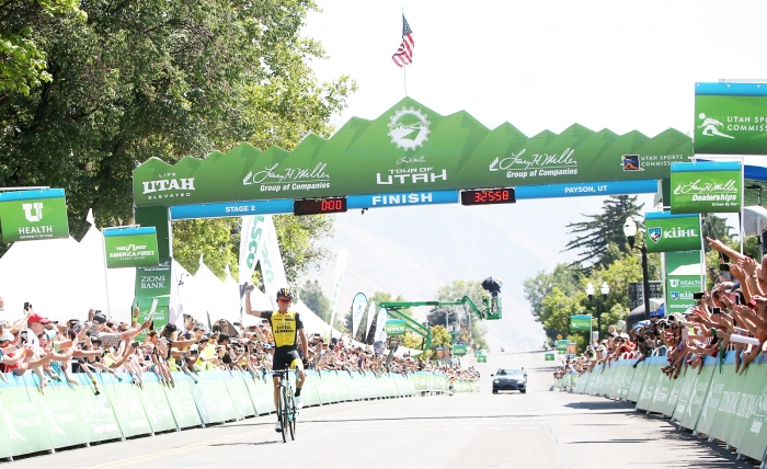 Sepp Kuss wins Stage 3. 2018 Tour of Utah Stage 2, August 8, 2018, Payson, Utah. Photo by Cathy Fegan-Kim, cottonsoxphotography.net