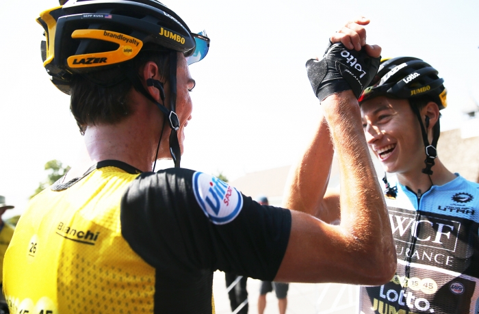 Lotto Jumbo team mates Sepp Kuss (1st) and Neilson (2nd) celebrates. 2018 Tour of Utah Stage 2, August 8, 2018, Payson, Utah. Photo by Cathy Fegan-Kim, cottonsoxphotography.net