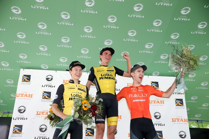Stage 3 podium. 2018 Tour of Utah Stage 2, August 8, 2018, Payson, Utah. Photo by Cathy Fegan-Kim, cottonsoxphotography.net