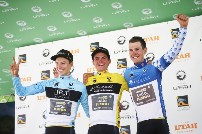Photo opp for the Lotto Jumbo teammates. 2018 Tour of Utah Stage 2, August 8, 2018, Payson, Utah. Photo by Cathy Fegan-Kim, cottonsoxphotography.net