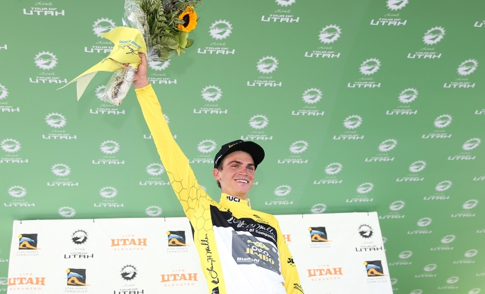 Kuss takes the Yellow Jersey from Van Garderen at Stage 3.  2018 Tour of Utah Stage 2, August 8, 2018, Payson, Utah. Photo by Cathy Fegan-Kim, cottonsoxphotography.net