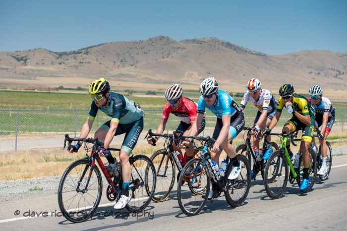 Early breakaway  drillin' it on the Mona Road south of Santaquin, Utah. Stage 2, 2018 LHM Tour of Utah cycling race (Photo by Dave Richards, daverphoto.com)