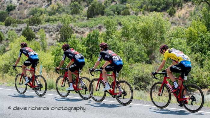 BMC Racing Team riders lead the way  for their team captain and yellow jersey race leader Tejay Van Garderen. Stage 2, 2018 LHM Tour of Utah cycling race (Photo by Dave Richards, daverphoto.com)