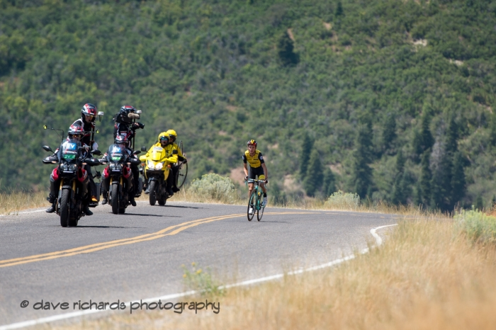 Lone breakaway rider Sepp Kuss (Team Lotto NL_Jumbo) on the steep climb up Mount Nebo. Stage 2, 2018 LHM Tour of Utah cycling race (Photo by Dave Richards, daverphoto.com)