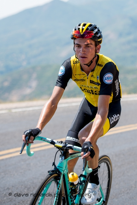 Close up on Sepp Kuss (Team Lotto NL_Jumbo) as he paces up the Mount Nebo climb to a solo win of Stage 2, 2018 LHM Tour of Utah cycling race (Photo by Dave Richards, daverphoto.com)